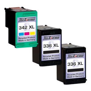 Megaset 3 Patronen XXL recycled ProSerie. Ersetzt HP 336 & 342