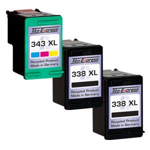 Megaset 3 Patronen XXL recycled ProSerie. Ersetzt HP 338 & 343