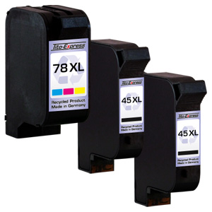 Megaset 3 Patronen XXL recycled ProSerie. Ersetzt HP 45 & 78