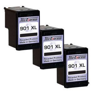 3x Druckerpatrone XXL recycled ProSerie. Ersetzt HP 901XL Black