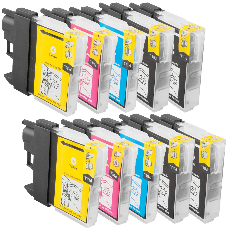 Sparset 10 Patronen XL ProSerie kompatibel zu Brother LC-1100 BK, C, M, Y