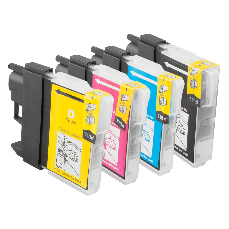 Sparset 4 Patronen XL ProSerie kompatibel zu Brother LC-980 BK, C, M, Y