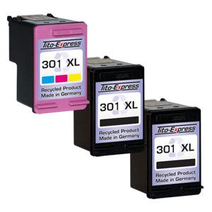 Megaset 3 Patronen XXL recycled ProSerie. Ersetzt HP 301XL Black & Color
