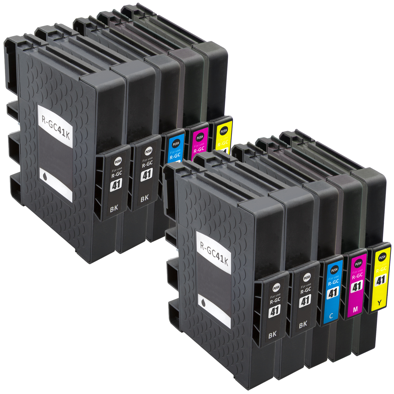 Sparset 10 Gelpatronen XXL ProSerie kompatibel zu Ricoh GC-41 BK, C, M, Y