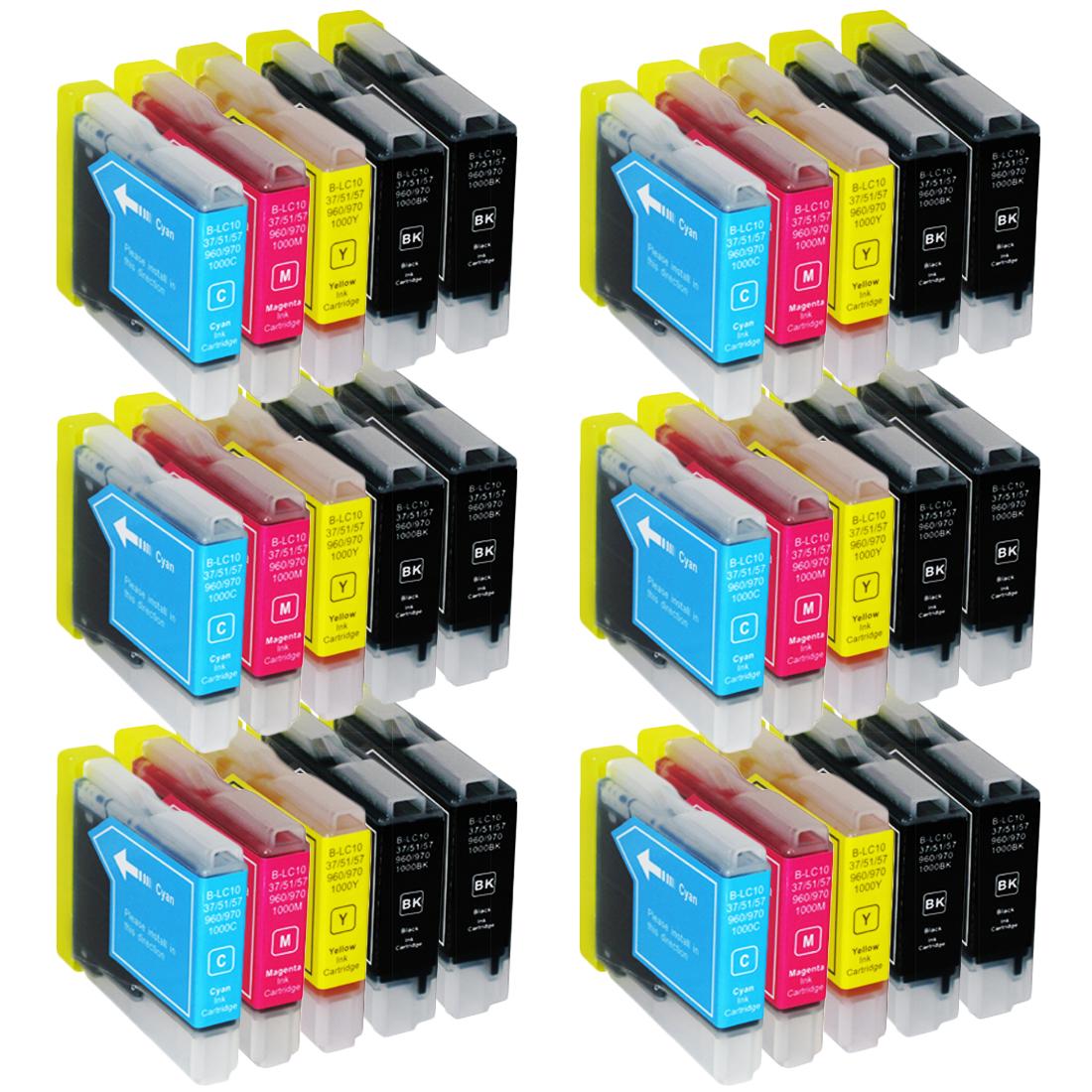 Sparset 30 Patronen XXL ProSerie kompatibel zu Brother LC-1000 BK, C, M, Y
