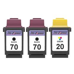 Megaset 3 Patronen XXL recycled ProSerie. Ersetzt Lexmark 70 & 20