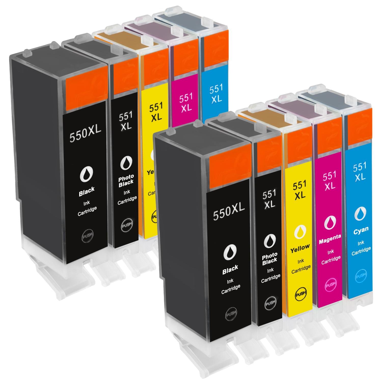Sparset 10 Patronen XXL ProSerie kompatibel zu Canon PGI-550XL CLI-551XL