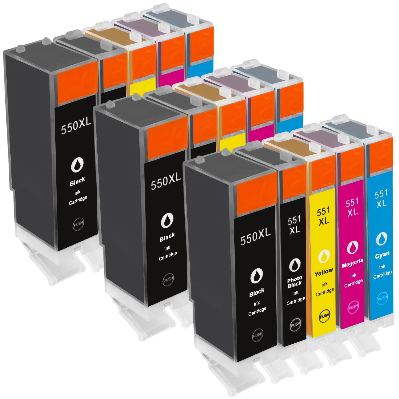 Sparset 15 Patronen XXL ProSerie kompatibel zu Canon PGI-550XL CLI-551XL