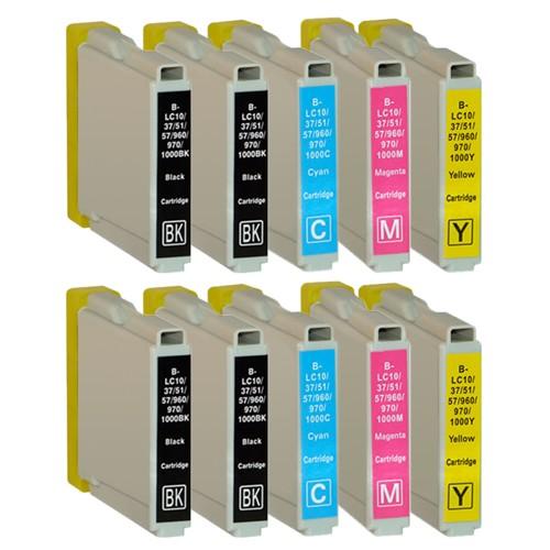 Sparset 10 Patronen XL ProSerie kompatibel zu Brother LC-970 BK, C, M, Y