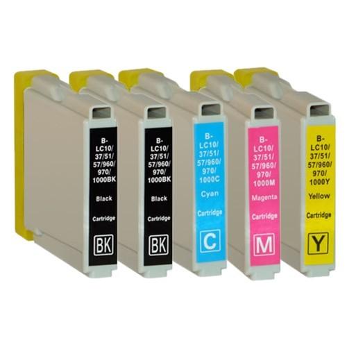 Sparset 5 Patronen XL ProSerie kompatibel zu Brother LC-1000 BK, C, M, Y