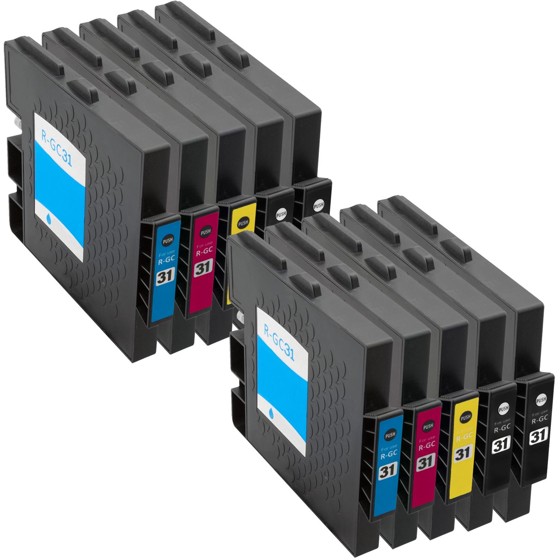 Sparset 10 Gelpatronen XXL ProSerie kompatibel zu Ricoh GC-31 BK, C, M, Y