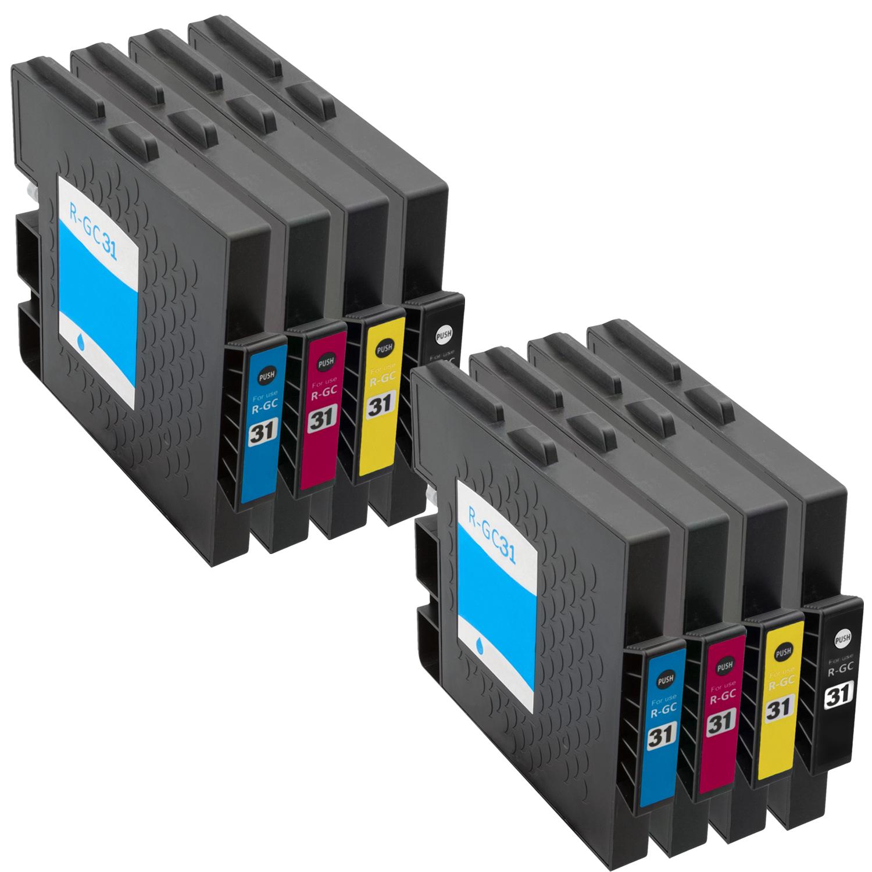 Sparset 8 Gelpatronen XXL ProSerie kompatibel zu Ricoh GC-31 BK, C, M, Y
